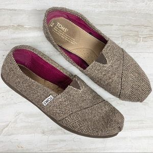 TOMS Brown Metallic Herringbone Classics